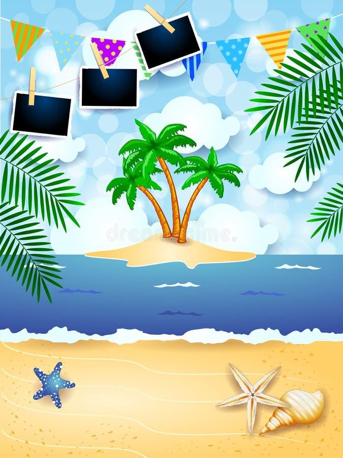 Sommerhintergrund mit Girlanden-, Tropeninsel- und Fotorahmen vektor abbildung