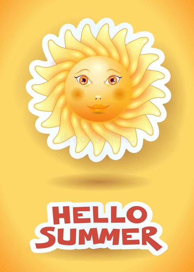 Sommerhintergrund mit großer Sonne und Text stock abbildung