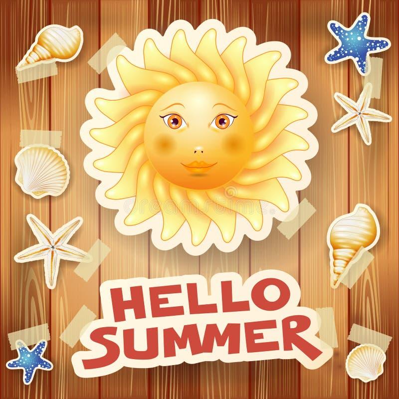 Sommerhintergrund mit großer Sonne und Text auf Holz stock abbildung