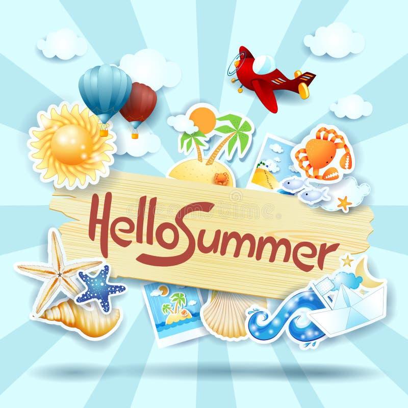 Sommerhintergrund mit Zeichen und Ikonen lizenzfreie abbildung
