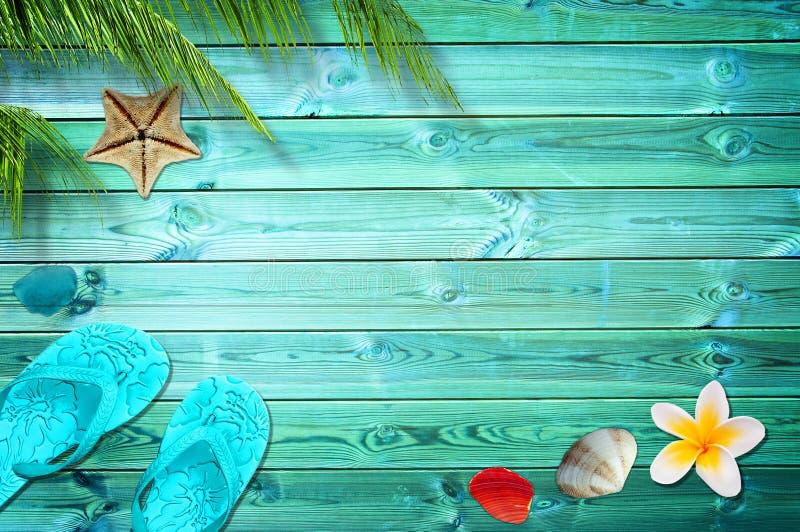 Sommerhintergrund, Palmen, Flipflops und Seeoberteile stockfotografie