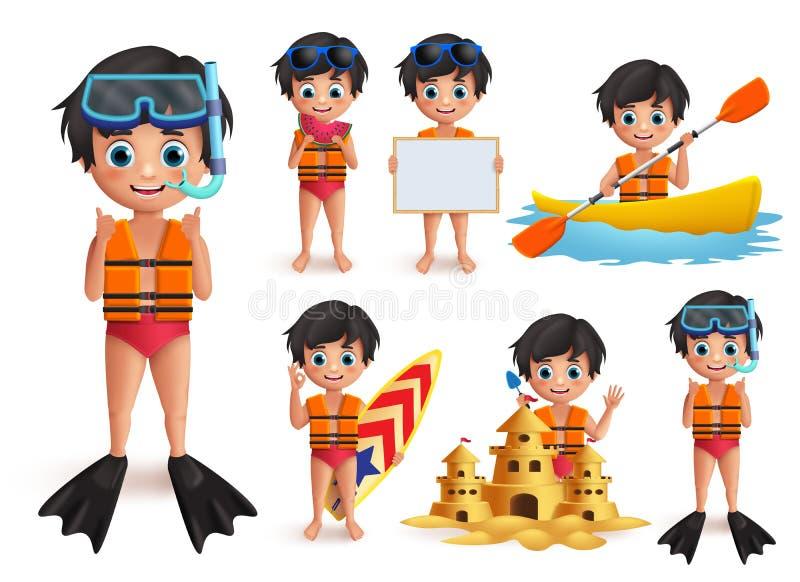 Sommerjungenkindervektorzeichensatz Tragende Schwimmweste des Strandjungen und Schnorcheln, Strandtätigkeiten tuend lizenzfreie abbildung