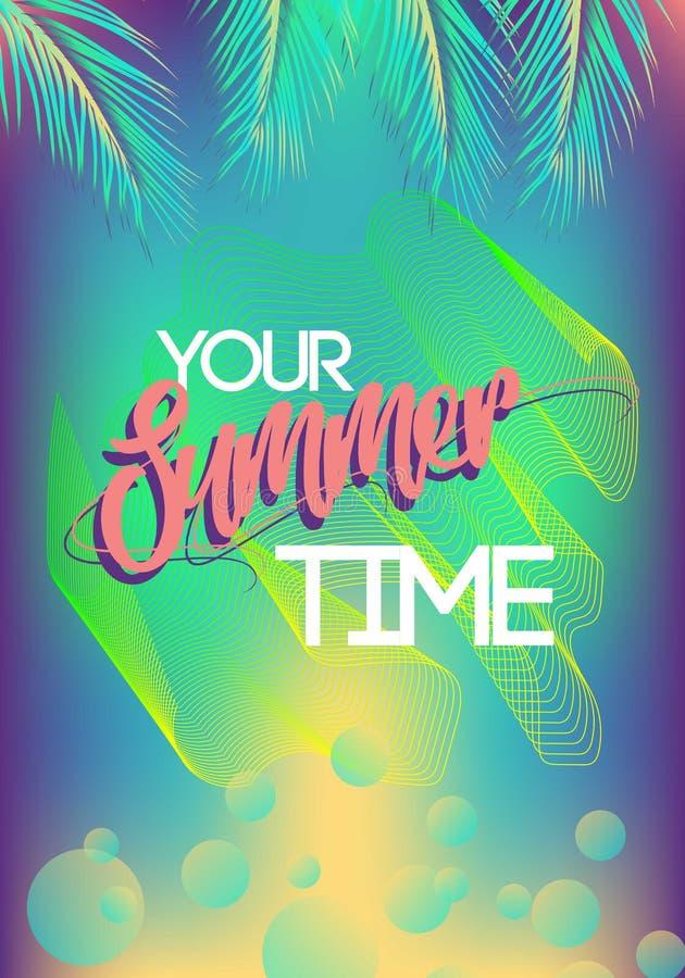 Sommerkalifornien-tumblr Hintergründe stellten mit Palmen, Himmel und Sonnenuntergang ein Sommerplakatplakatflieger-Einladungskar lizenzfreie abbildung
