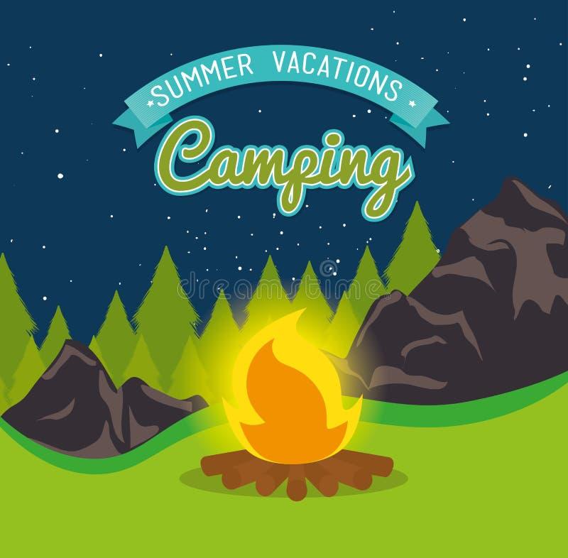 Sommerkampieren und -reise stock abbildung
