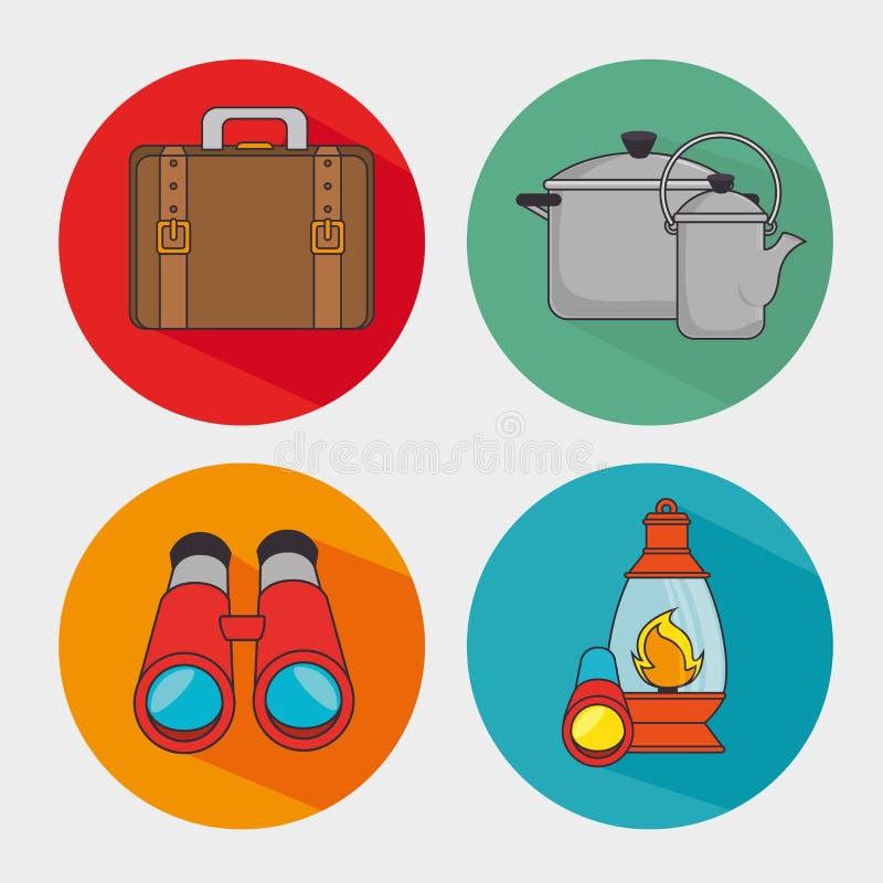 Sommerkampieren und -reise lizenzfreie abbildung
