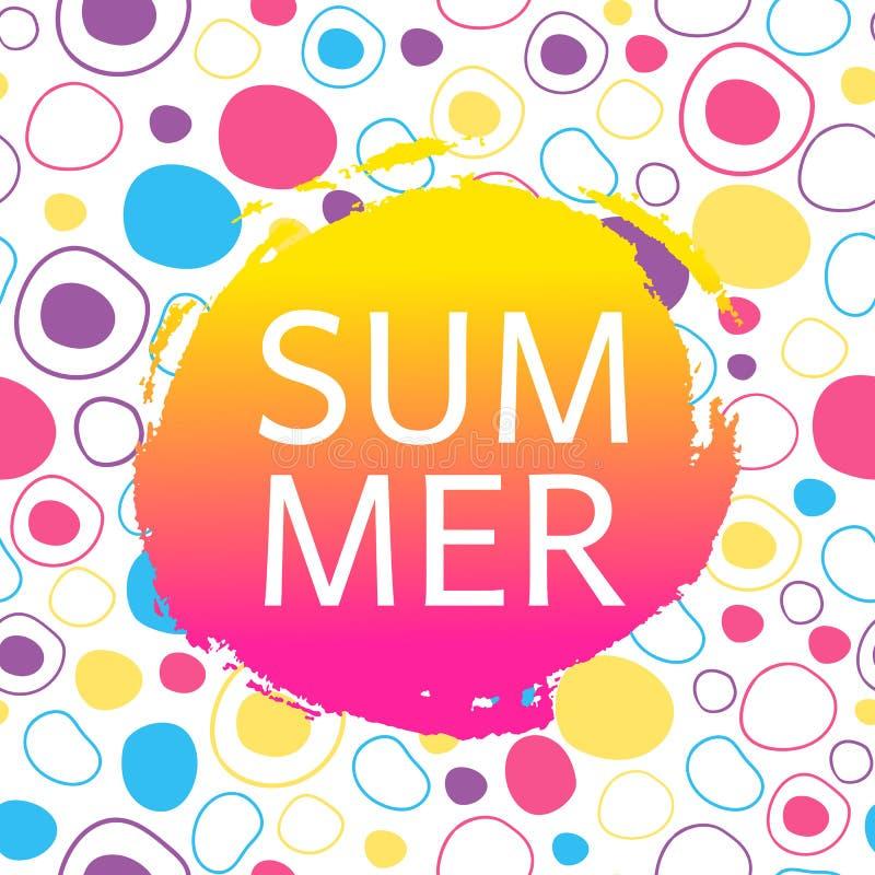Sommerkarte auf abstraktem Hintergrund mit Kreisen lizenzfreie abbildung
