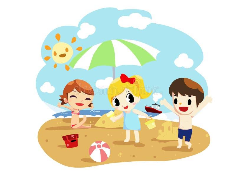 Sommerkinder auf dem Strand - vecor lizenzfreie abbildung