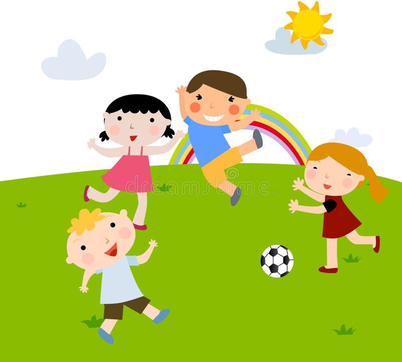 Sommerkinder, die Fußball spielen vektor abbildung