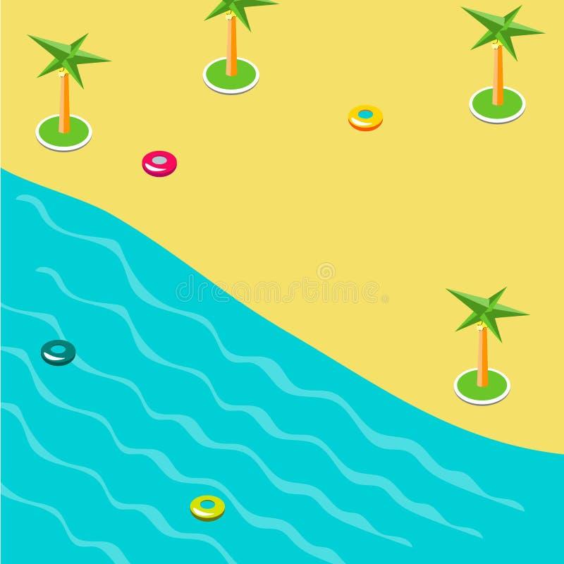 Sommerkonzept des sandigen Strandes in isometrischem vektor abbildung
