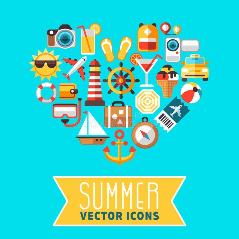 Sommerkonzept mit flachen Strandvektorikonen in der Herzform stock abbildung