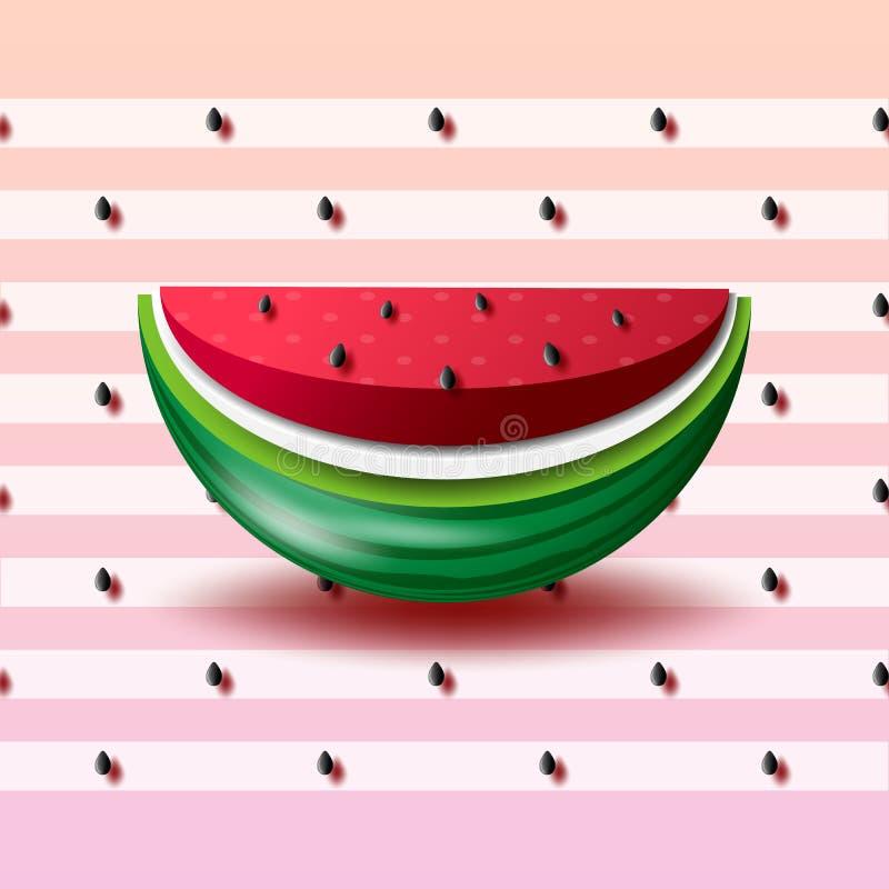 Sommerkonzept mit Wassermelonenpapier-Schnitthintergrund vektor abbildung