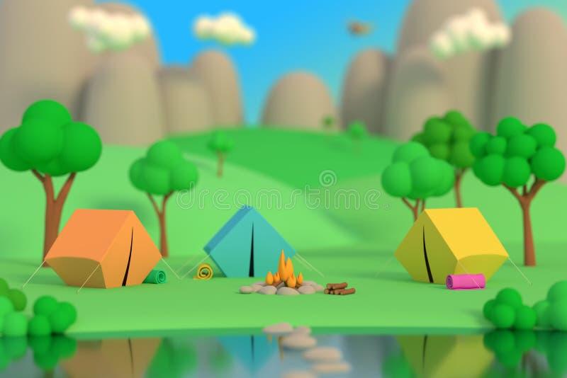 Sommerlager im Wald am Nachmittag auf einem Hintergrund von Bergen Farbige Zelte um das Feuer Defocus-Effekt 3d ?bertragen stock abbildung