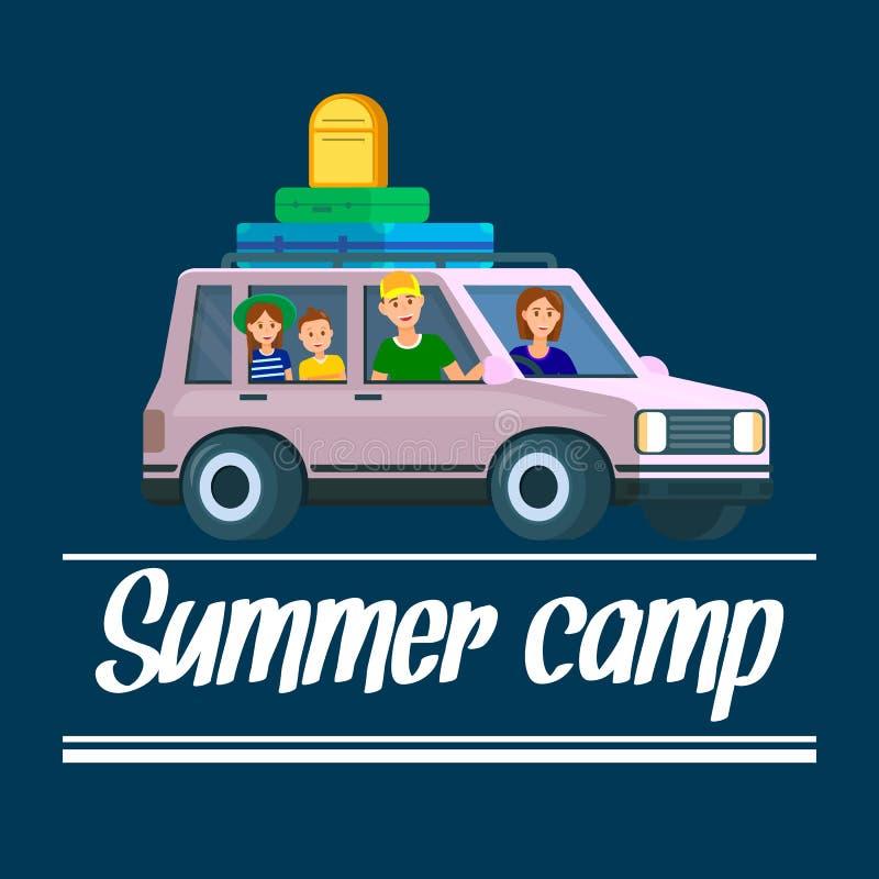 Sommerlagerfahne Eltern, die mit Kindern reisen vektor abbildung