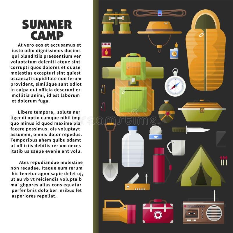 Sommerlagerplakat mit spezieller Ausrüstung und Probe simsen vektor abbildung