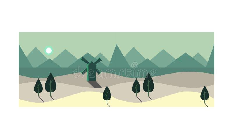 Sommerlandschaft in der Nacht, Sommerlandschaft mit grünen Bäumen und Windmühle, mondbeschiene Feldvektor Illustration lizenzfreie abbildung