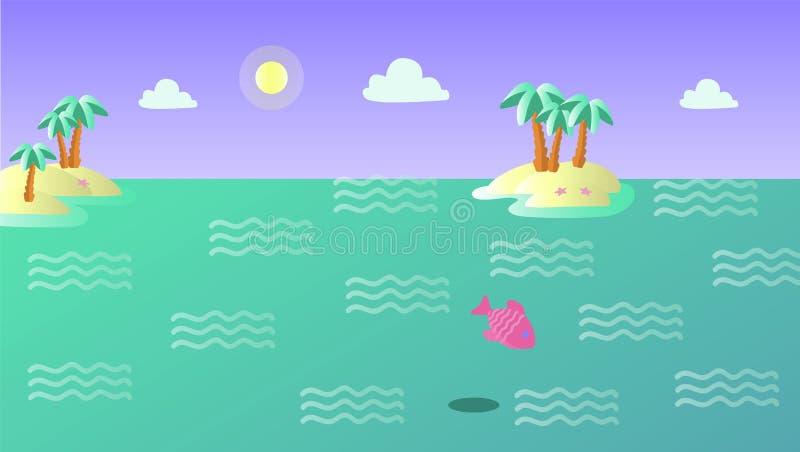 Sommerlandschaft mit Inseln und Fischen stock abbildung