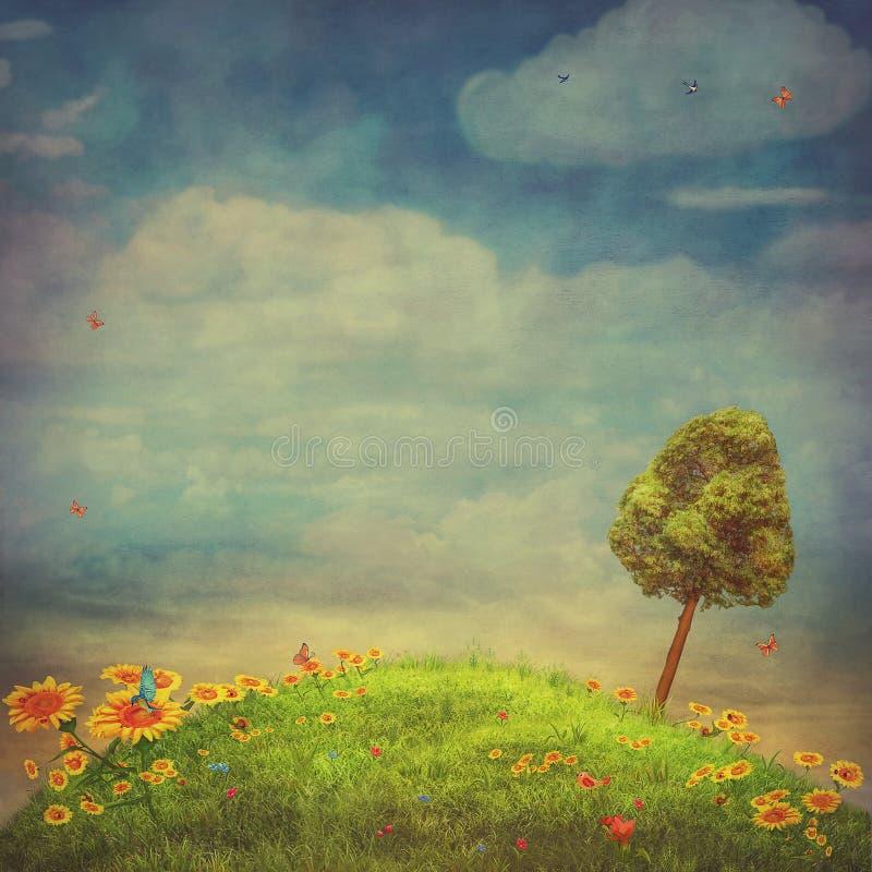 Sommerlandschaft mit Schmetterlingen, grünem Feld, Himmel und Sonnenblumen stock abbildung