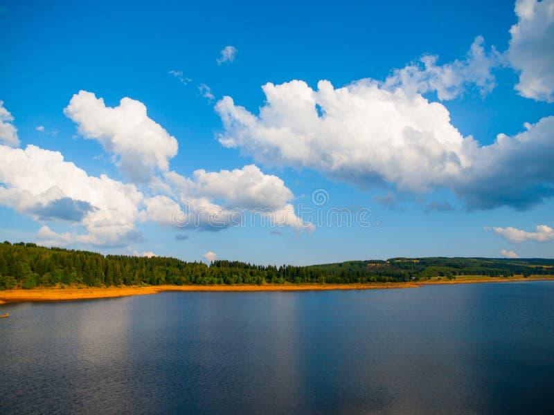 Sommerlandschaft mit Wäldern und See stockbild