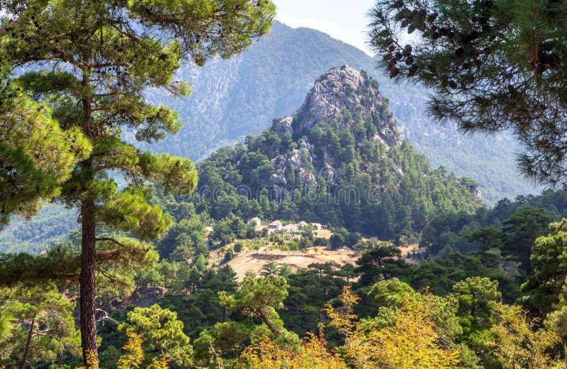 Sommerlandschaft, wenig Dorf auf der Gebirgsseite in den Hochländern von der Türkei lizenzfreies stockbild
