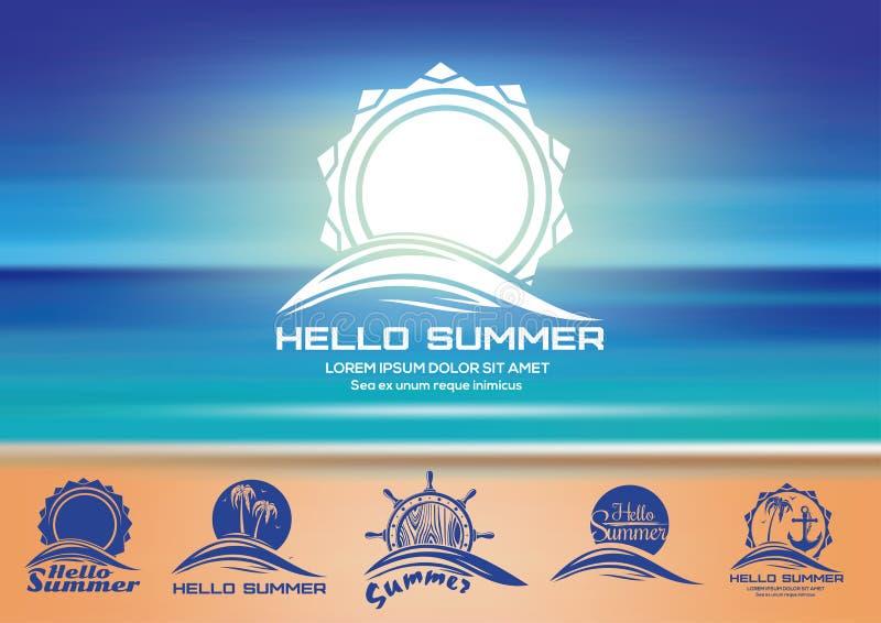 Sommerlogo-Designsatz lizenzfreie abbildung