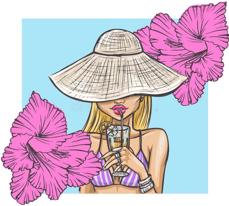 Sommermädchen im Hut trinkt ein Cocktail lizenzfreie abbildung
