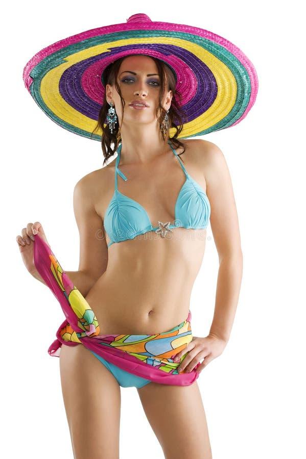 Sommermädchen mit Sombrero stockbild