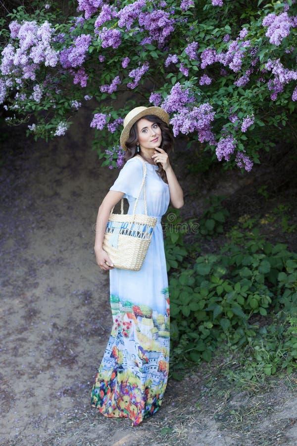 Sommermodeporträt der erstaunlichen Frau gehend in den blühenden lila Garten Tragendes langes Weinlesekleid Romantische Stimmung  stockfoto