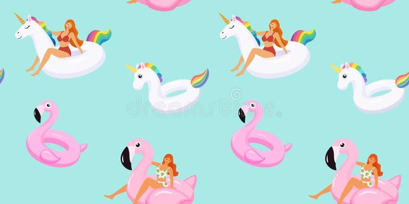 Sommermuster mit netten M?dchen in den modischen Badeanz?gen auf aufblasbaren Schwimmbadflamingos und -Einhorn Vektornahtlose Bes stock abbildung