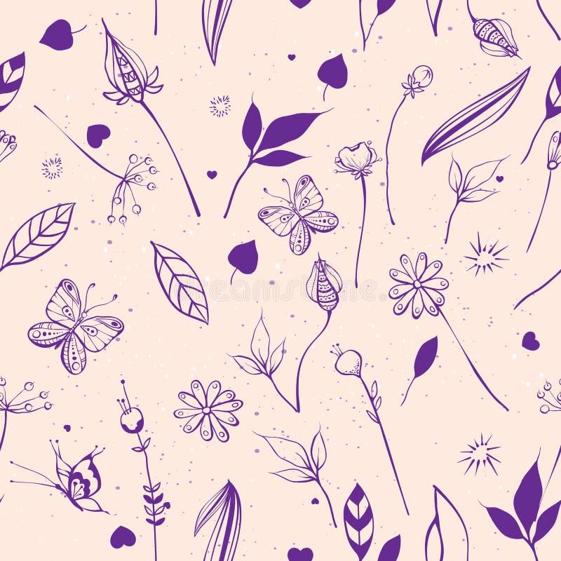 Sommernatur blüht, Blätter, Beeren, Schmetterlinge Nahtloser abstrakter Hintergrund stock abbildung