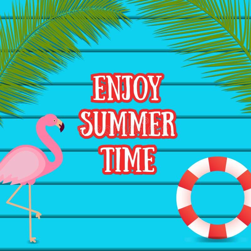 Sommernetzfahne auf dunkelblauem hölzernem Hintergrund mit Flamingovogel stock abbildung