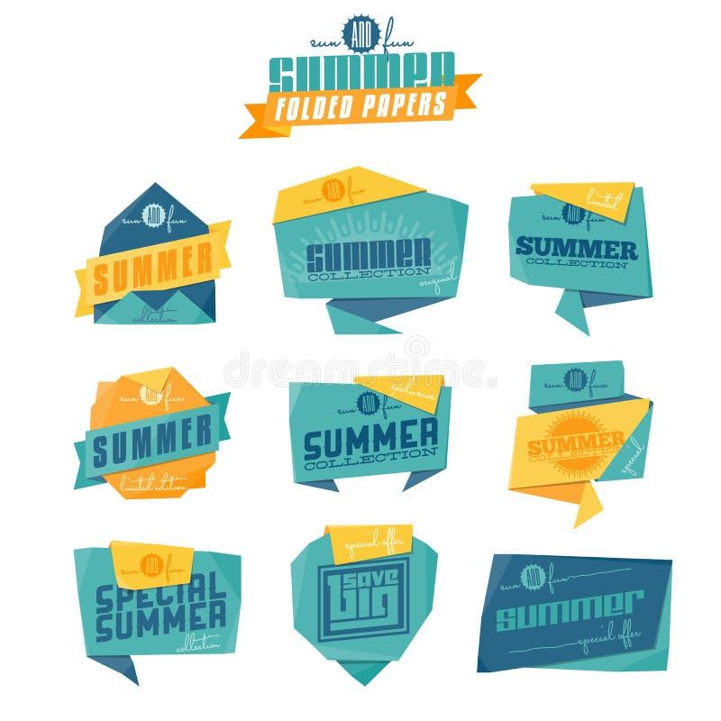 Sommerorigamiaufkleber stock abbildung