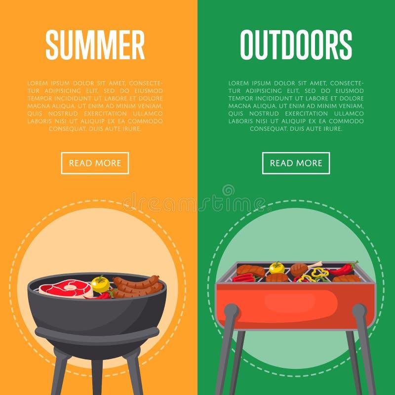 Sommerpicknickflieger im Freien mit Fleisch auf bbq stock abbildung