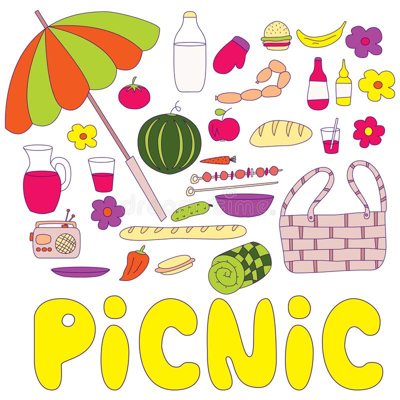 Sommerpicknickgekritzel eingestellt mit Aufschrift Picknick lizenzfreie abbildung