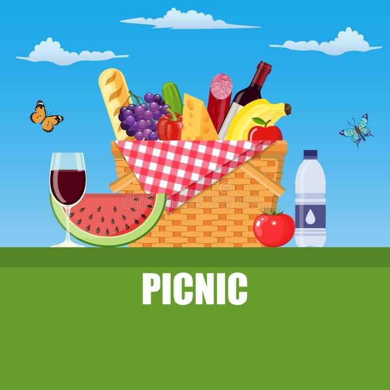 Sommerpicknickkonzept mit Korb, stock abbildung