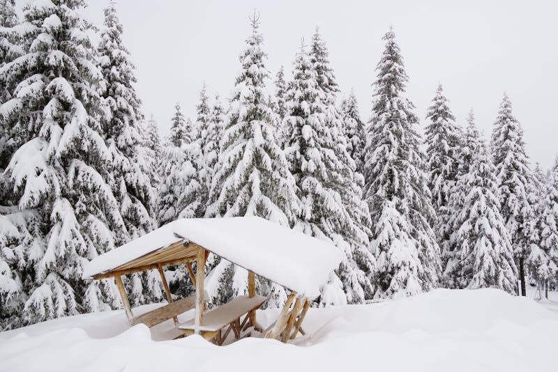 Sommerpicknickplatz für die Trekkers, an einem Wintermorgen lizenzfreie stockfotografie