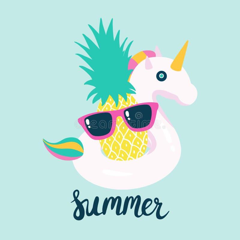 Sommerplakatpool, das mit Einhorn und Ananas schwimmt lizenzfreie abbildung
