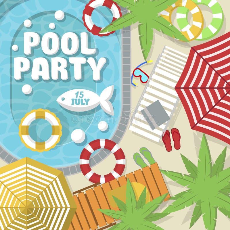 Sommerpool-party-Einladungsplan stock abbildung