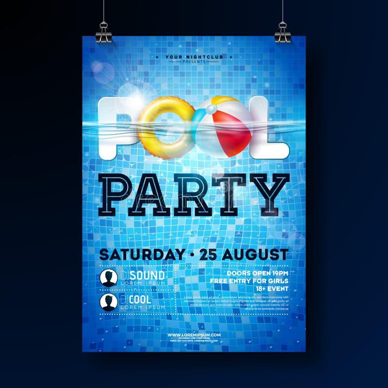 Sommerpool-party-Plakat-Entwurfsschablone mit Wasser, Wasserball und Floss auf blauem mit Ziegeln gedecktem Hintergrund Vektor-Fe lizenzfreie abbildung