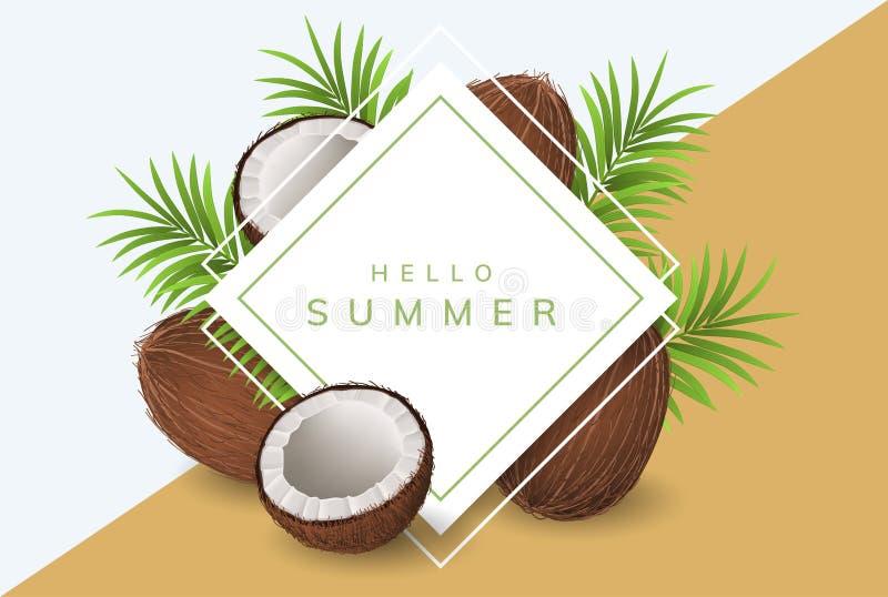 Sommerrahmen mit Kokosnuss und Palmblatt lizenzfreie abbildung