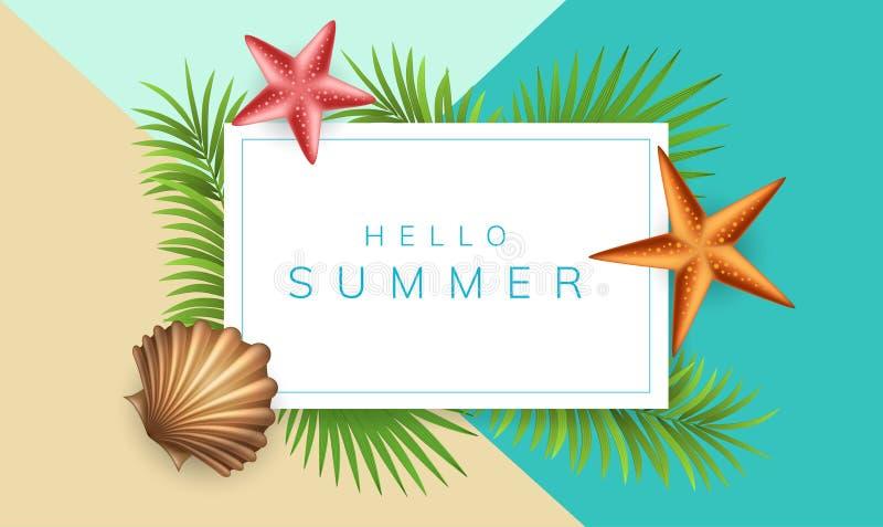 Sommerrahmen mit Oberteil und Palmblatt lizenzfreie abbildung