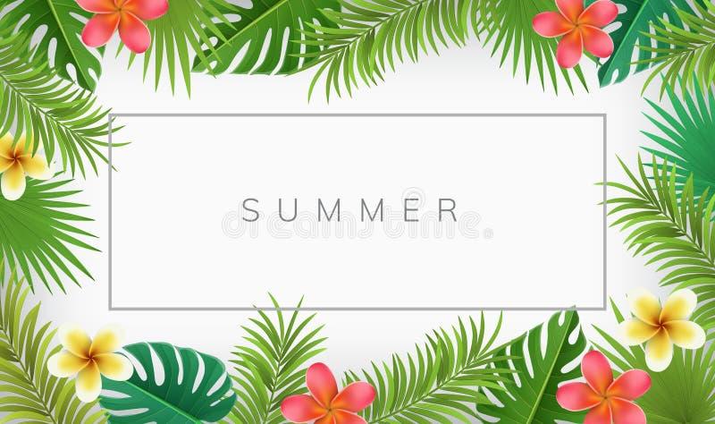 Sommerrahmen mit Palmblatt und tropischer Blume lizenzfreie abbildung