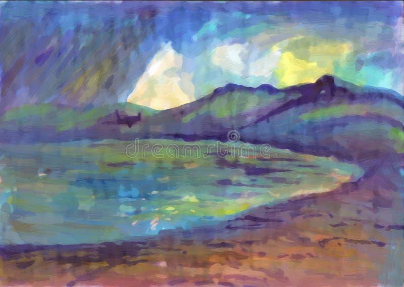 Sommerregen auf dem See Landschaft mit Fluss und Wald stock abbildung