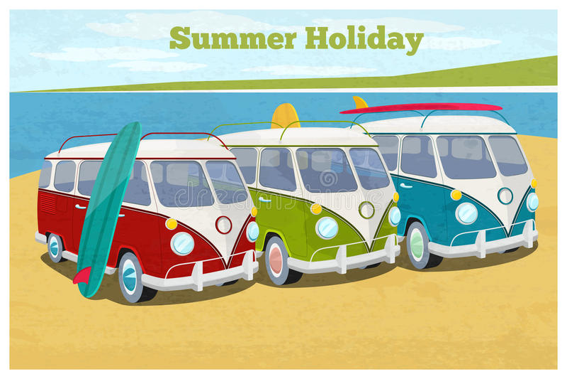 Sommerreisedesign mit Reisemobil stock abbildung
