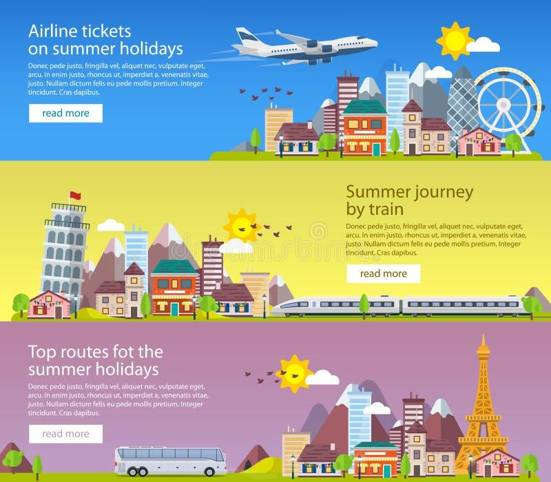 Sommerreisefahnen in der flachen Art Mit dem Flugzeug reisend in Zeit von Ferien, transportieren Sie und bilden Sie aus Reise nac stock abbildung