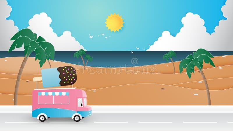 Sommersaison, Ferien, Reisehintergrund-Konzeptpapier-Schnittart stock abbildung