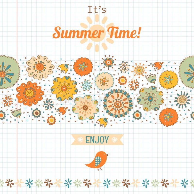 Sommersatz, Blumen und Aufkleber, Fahne lizenzfreie abbildung