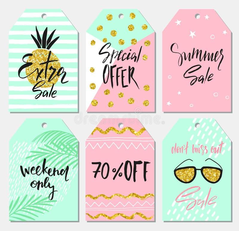 Sommersatz Verkaufs- und Geschenktags, Aufkleber mit nette Hand gezeichneten Gestaltungselementen, handgeschriebene Beschriftung  lizenzfreie abbildung