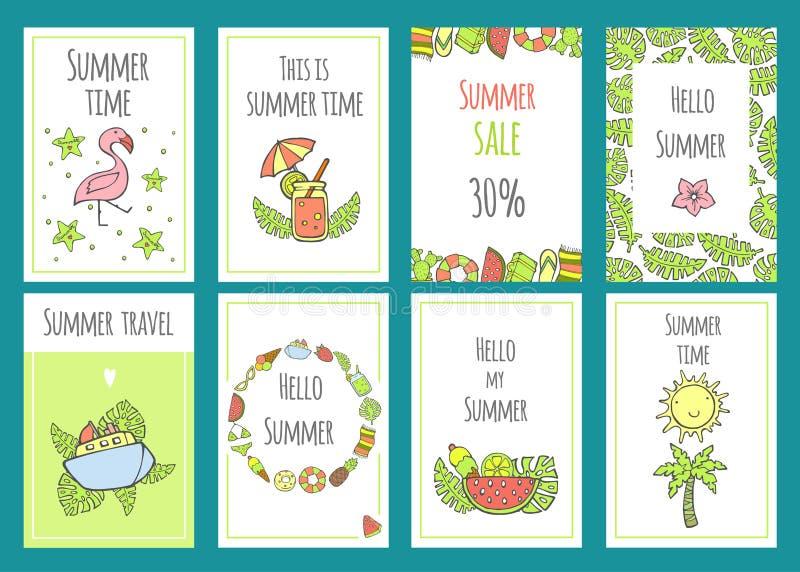 Sommersatz Verkaufsfahnenschablonen mit nette Hand gezeichneten Gestaltungselementen, handgeschriebener Beschriftung und Beschaff stock abbildung