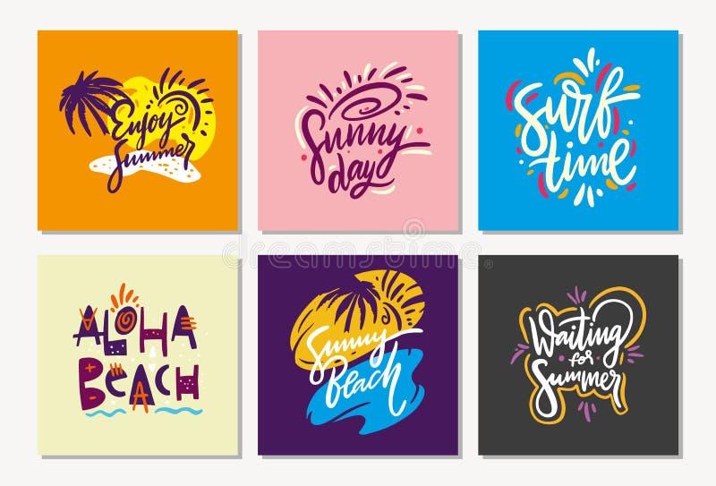 Sommersatzphrase Hand gezeichnete Vektorbeschriftung Entwurf f?r Feiertagsgru?karten, Logo, Aufkleber, Fahne, Plakat, Druck stock abbildung