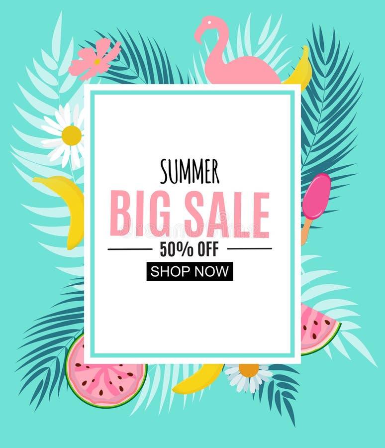 Sommerschlussverkauf-abstrakte Fahnen-Hintergrund-Vektor-Illustration stock abbildung